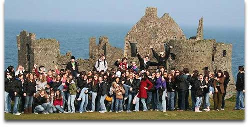 tour group at Irish ruins